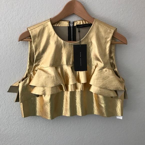 894e69e2e24554 BNWT Zara Women Gold Ruffled Crop Top Size M